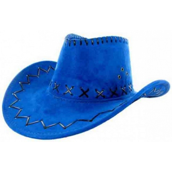 Blauwe lederlook cowboyhoed