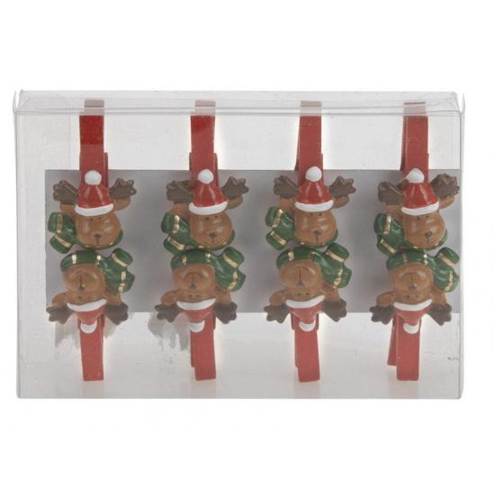 Kerstknijpers rendier 8 stuks