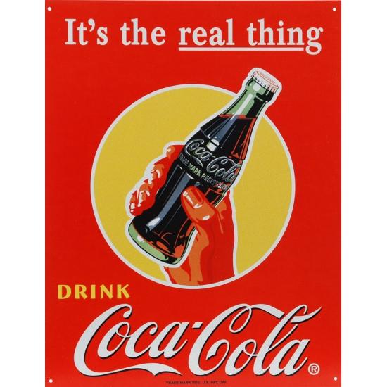 Metalen wandplaat Coca Cola the real thing