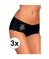 3x sloggi dames light short zwart