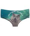 Fun ondergoed grijze kat print voor dames