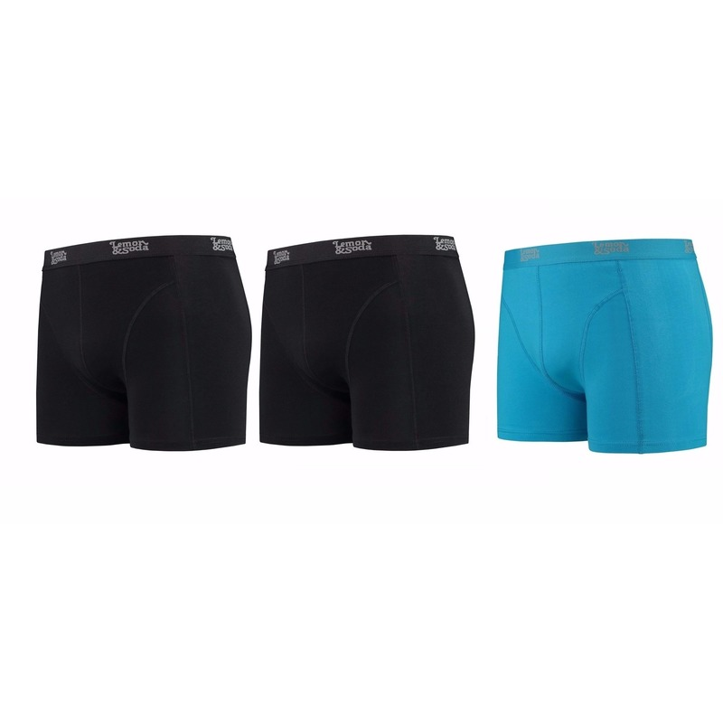 Lemon and Soda boxershorts 3 pak zwart en blauw XL