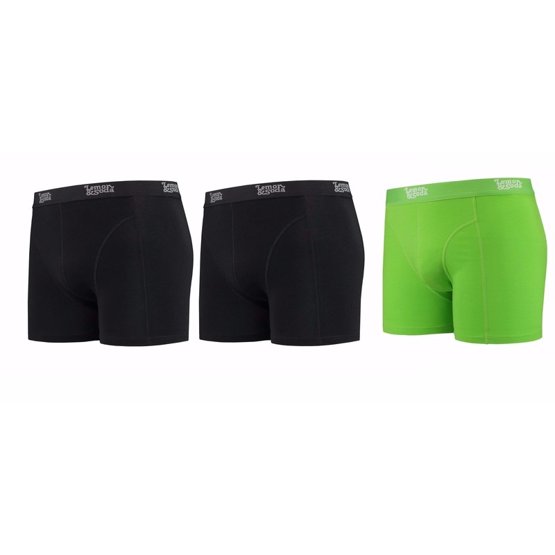 Lemon and Soda boxershorts 3 pak zwart en groen S
